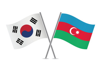 Azerbaijan and South Korea flags. Vector illustration.