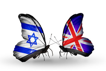 Two butterflies with flags Israel and  UK