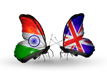 Two butterflies with flags  India and  UK
