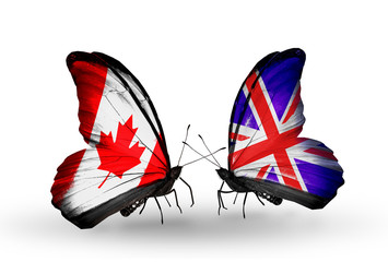 Two butterflies with flags Canada and  UK