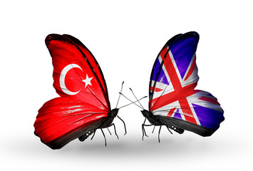 Two butterflies with flags Turkey and  UK