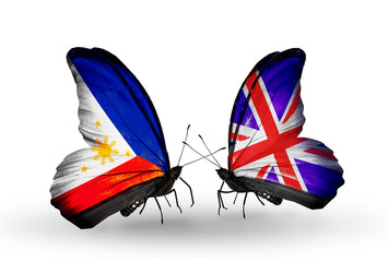 Two butterflies with flags Philippines and  UK