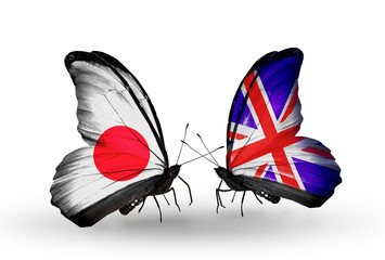 Two butterflies with flags Japan and  UK