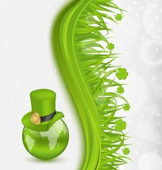 Hat around Globe on St. Patrick's Day