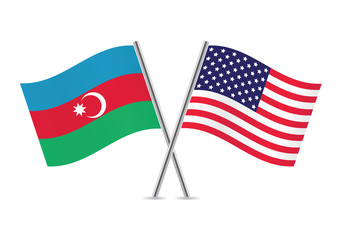 Azerbaijan and American flags. Vector illustration.