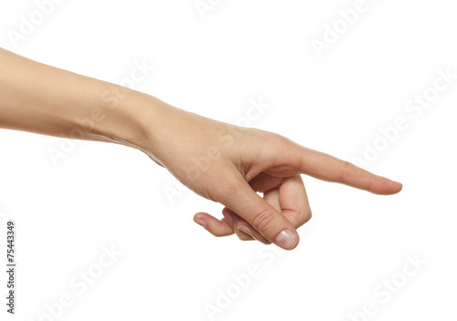 Hand in the gesture of touching, pushing, indicating - 75443349