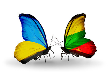 Two butterflies with flags Ukraine and Lithuania