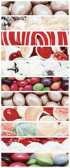 Retro Photo Of Sweet Candies Background Collage Set