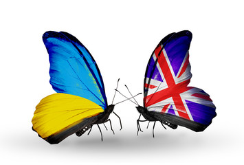 Two butterflies with flags Ukraine and UK