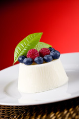 Panna cotta with Berries on red background