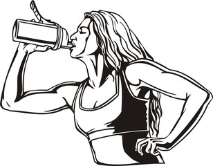 Woman drinking from a shaker - sports nutrition. Vector