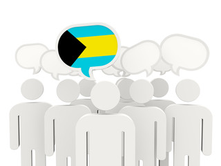 People with flag of bahamas