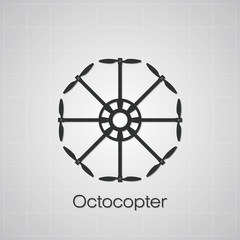 Octocopter drawing on grey background