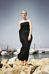 Young woman at the marina.