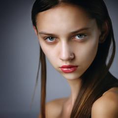 Close-up portrait of beautiful Caucasian teenage girl