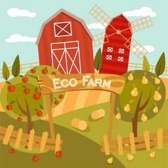Eco Farm flat illustration