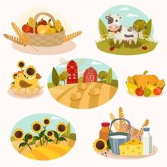 Eco farm flat icons