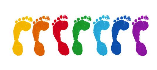 Bunte Fußabdrücke