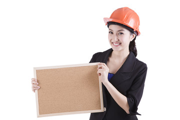 Engineer entrepreneur architect business woman showing blank sig