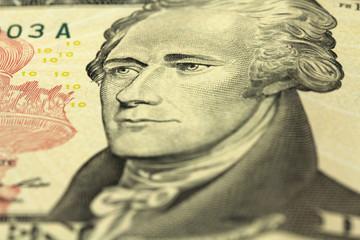 bill ten American dollars closeup