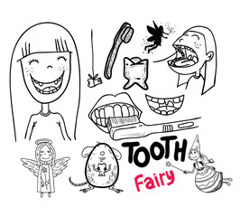 Tooth fairy, vector illustration.