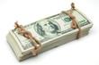billetes de dolar atados