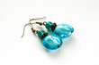 Hand crafted earrings with blue venetian glass