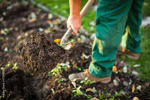 Leinwanddruck Bild Gardening - man digging the garden soil with a spud