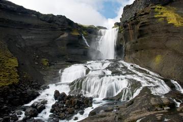 Ofaerufoss waterfall in Eldgja canyon