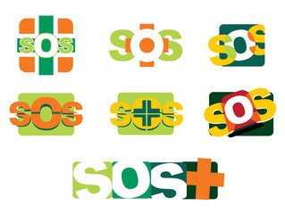 Illustration SOS distress icons