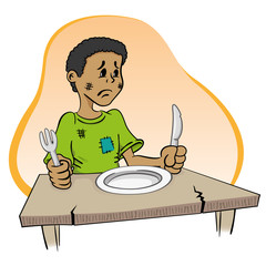 Child sitting with hunger the table