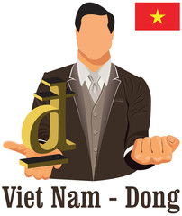 Vietnam currency symbol dong representing money and Flag.