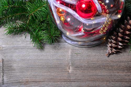 canvas print picture Weihnachten licht kugeln