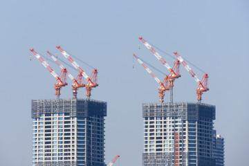 [東京都市風景]東京臨海副都心有明から望む 建設中の高層タワーマンション