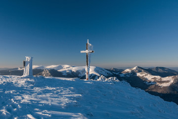 Sunny winter morning on a mountain ridge-Greater Fatra, Slovakia