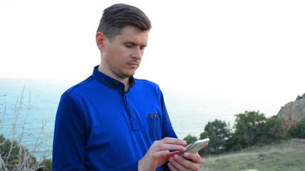Man using navigation on smartphone