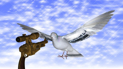 Dove in the air with wings wide against a gun