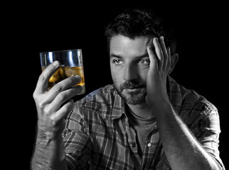 alcoholic addict man drunk with whiskey glass alcoholism concept