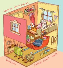 Santa House inside.vector illustration.