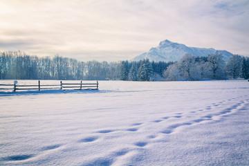 Winterlandschaft - blick zum Untersberg
