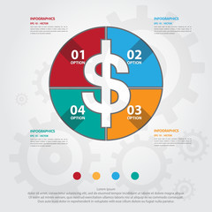 Step design of four part Money infographic element. Vector illus