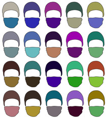 Hat with a mask in different colors. Vector. 1