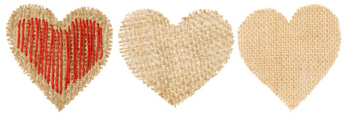 Heart Shape Sackcloth Patch, Valentines Day Burlap Object