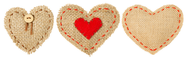 Heart Shape Sackcloth Patch, Valentine day Stitches Seam