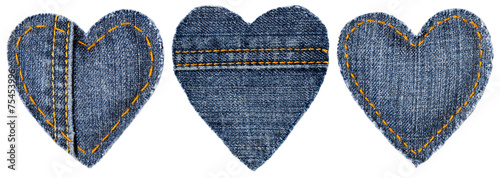 Jeans Heart Shape Patch with Stitches Seam, Valentine day - 75453996