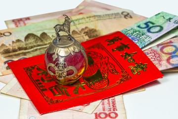 Chinesisches Neujahr, Geldumschlag Lai Si mit Wünschen und Geldg