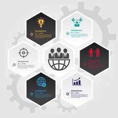 Hexagons group modern business template.