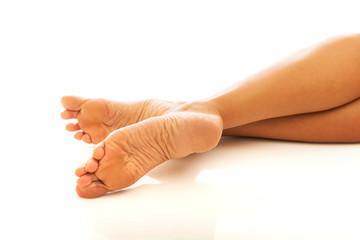 Close up on beautiful woman's feet
