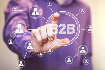 Businessman pressing web b2b icon