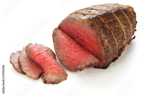 Leinwanddruck Bild roast beef isolated on white background